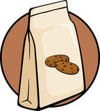 Chocolate chip cookies bag vector illustration. Vector illustration of a chocolate chip cookies bag royalty free illustration