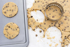 Chocolate chip cookies on a baking tray Stock Image
