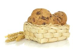 Chocolate chip cookies in a basket Stock Image