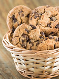 Chocolate chip cookies in a basket Stock Photos