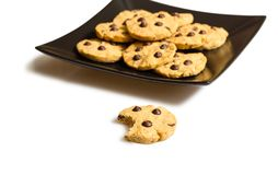 Chocolate chip cookies on a black plate Royalty Free Stock Image