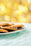 Chocolate chip cookies with bokeh background Royalty Free Stock Images