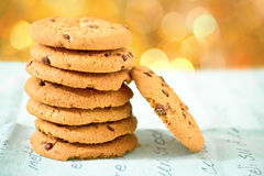Chocolate chip cookies with bokeh background Stock Images