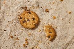 Chocolate chip cookies on brown napkin background. Sweet biscuits. Homemade pastry royalty free stock photos