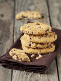 Chocolate chip cookies on brown napkin Stock Photography