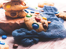 Chocolate chip cookies with candies. Retro toned Stock Images