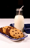 Chocolate Chip Cookies Ceramic Tray Milk Bottle Straw Stock Images