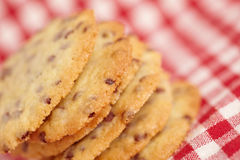 Chocolate Chip Cookies on checkered Royalty Free Stock Photos