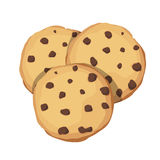 Chocolate Chip Cookies. Choco cookie icon. Vector illustration. 3 cookies with chocolate pieces on a white background. The application icon Royalty Free Stock Image