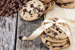 Chocolate Chip Cookies and Chocolate Chips royalty free stock photos