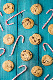 Chocolate Chip Cookies & Christmas Candy Canes Stock Photo