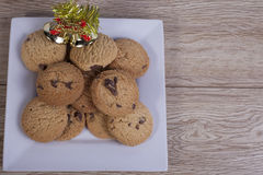 Chocolate chip cookies with christmas decorations Royalty Free Stock Photo