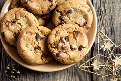 Chocolate chip cookies with christmas star Stock Images