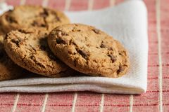 Chocolate chip cookies, close up. Homemade chocolate chips cookies on a napkin Stock Photography