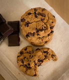 Chocolate chip cookies on a cloth. Food indulgence concept, dessert time royalty free stock photo