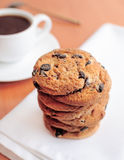 Chocolate chip cookies and coffee Stock Photo