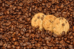 Chocolate Chip Cookies And Coffee Beans Stock Photos