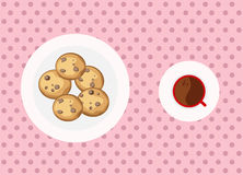 Chocolate chip cookies and coffee. Chocolate chip cookies is the best companion to eat together Stock Photos