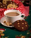 Chocolate Chip Cookies Coffee Christmas Pattern Imagen de archivo libre de regalías