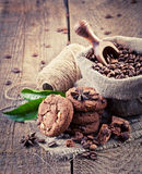 Chocolate chip cookies and coffee Stock Photography
