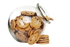 Chocolate chip cookies in a cookie jar Stock Image