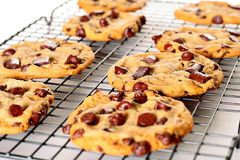 Chocolate chip cookies on cooling rack upclose. Shot of chocolate chip cookies on cooling rack Stock Photos