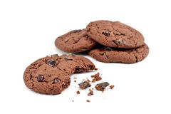 Chocolate chip cookies and crumbs Stock Images