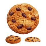 Chocolate chip cookies 3d photo realistic vector stock illustration