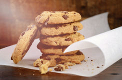 Chocolate Chip Cookies on Dark Wood Background. Stock Image