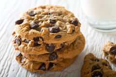 Chocolate Chip Cookies. Delicious home baked chocolate chip cookies with a glass of milk Royalty Free Stock Photos