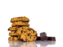 Chocolate chip cookies. Dessert time concept, bakery styling royalty free stock photos