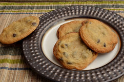 Chocolate chip cookies displayed on plate Stock Image