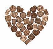 Chocolate chip cookies, gingerbread, candy, heart, chocolate. On a white background are heart shaped chocolate chip cookies, gingerbread and candy. Colored stock illustration