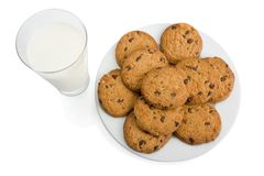 Chocolate chip cookies and a glass of milk Stock Image