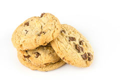 Chocolate chip cookies isolate on white bachground Royalty Free Stock Images