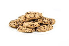Chocolate chip cookies. Isolated homemade chocolate chip cookies on a plate Stock Photo