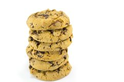 Chocolate chip cookies isolated Royalty Free Stock Photo