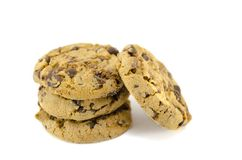 Chocolate chip cookies isolated Royalty Free Stock Photography
