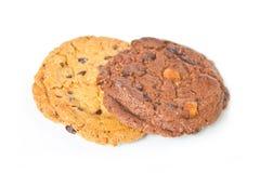 Chocolate chip cookies. Chocolate chip cookies isolated on white Royalty Free Stock Image
