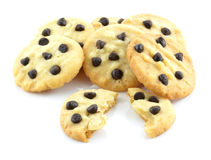 Chocolate chip cookies isolated on white background. Royalty Free Stock Image