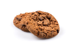 Chocolate chip cookies isolated on white Royalty Free Stock Photos