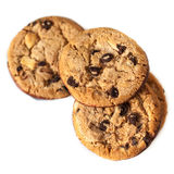 Chocolate chip cookies isolated  on white background close up Stock Photography