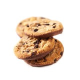 Chocolate chip cookies isolated  on white background close up Stock Image