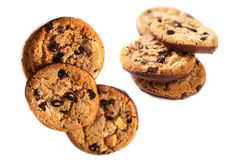 Chocolate chip cookies isolated  on white background close up Stock Photos