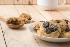 Chocolate chip cookies, like Mom used to make, served on a white Royalty Free Stock Image