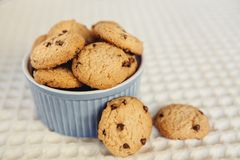 Chocolate chip cookies in little blue bowl. Sweet food concept Stock Photo