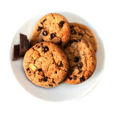 Chocolate chip cookies macro  isolated on white background. Clos Royalty Free Stock Photo