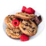 Chocolate chip cookies macro  isolated on white background. Clos Royalty Free Stock Image