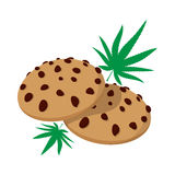 Chocolate chip cookies with marijuana lea icon Royalty Free Stock Photo