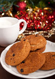Chocolate chip cookies with milk Royalty Free Stock Photo